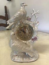 Iridescent Ceramic Table Top Clock, Birds