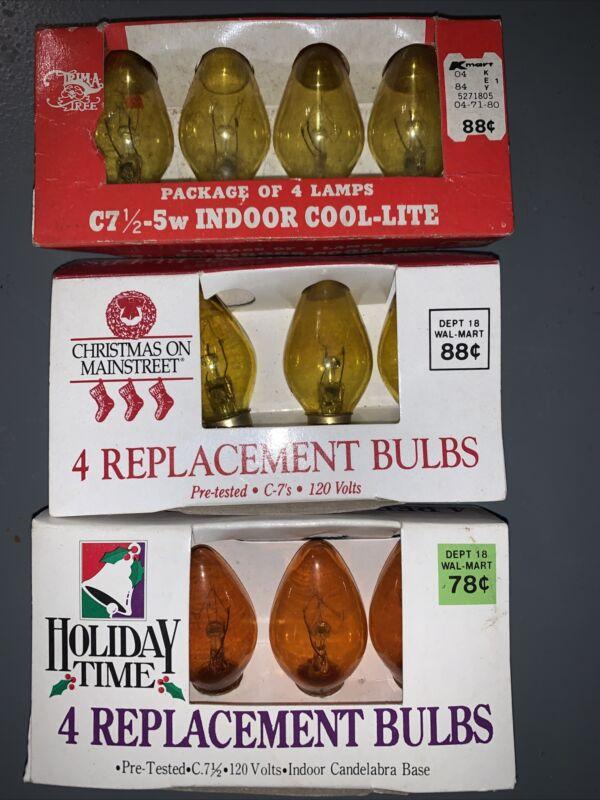 Vintage C 7 1/2 Raplacement Christmas Bulbs ~ Yellow & Orange | 3 sets of 4