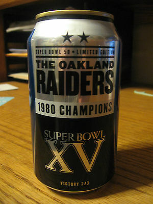 OAKLAND RAIDERS Bud Light Super Bowl 50 beer can NFL 2015  1980 Champions EMPTY