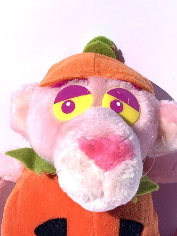 "Vtg Halloween Pink Panther Decor Pumpkin Plush 17"" 1999 Stuffed Animal Toy Cat"