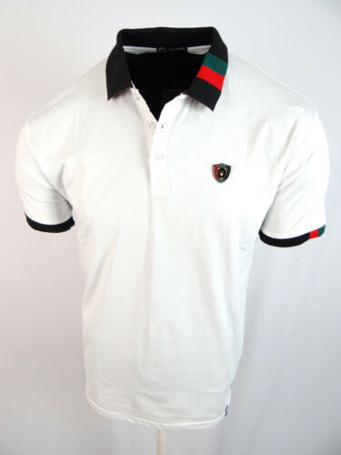 Mens Polo Shirt Niko White Sport Stripe Collar Italia Crest Slim Fit Stretch