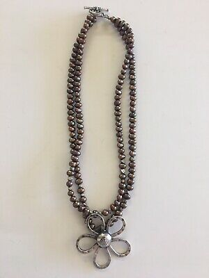 Vtg2nw Flower Pendant Mixed Metal Beads Toggle Clasp Necklace Statement (Metal Flowers Clasp Necklace)