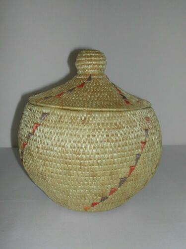 Authentic Native Handcrafted Alaskan Small Woven Grass Basket Toksook Bay NICE!