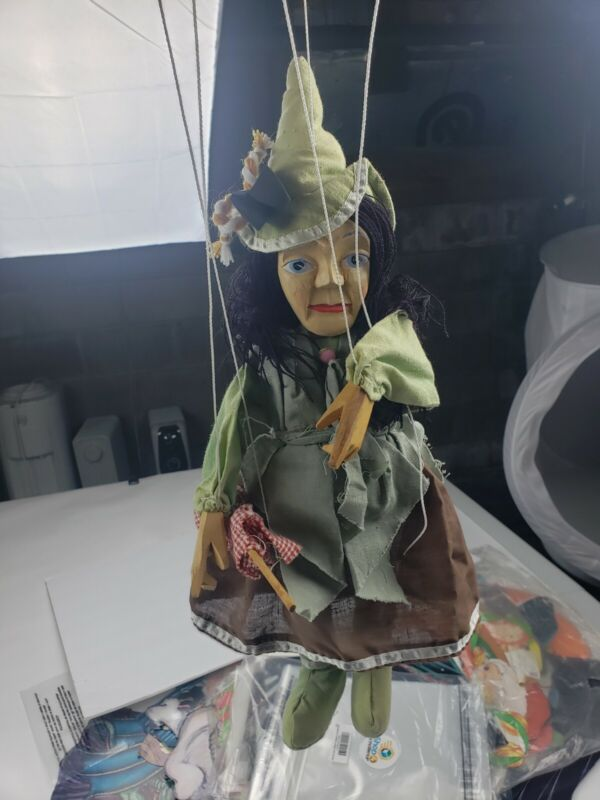 Green lady witch marionette puppet hand made