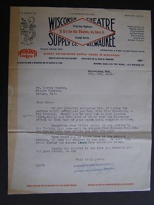 Movie Letterhead Wisconsin Theatre Supply 1/5/19 Carbon Order Color Wheel - Movie Theater Supplies