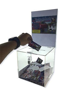 Clear Raffle Charity Ballot Donation Suggestion Box w/lock 8 x 8 x 8 w/ - Raffle Boxes