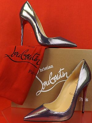 NIB LOUBOUTIN SO KATE 120 SILVER TISSU SCARABE LEATHER CLASSIC PUMPS 38