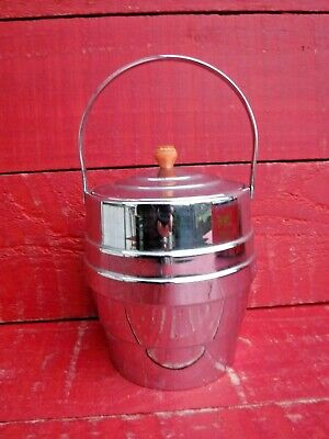 VINTAGE ART DECO CHROME ICE BUCKET WITH LINER
