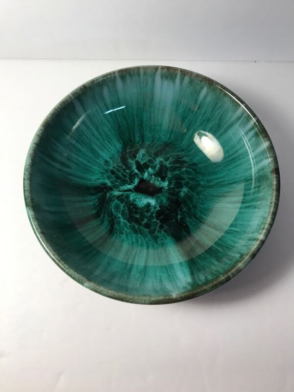 Vintage Blue Mountain Pottery Small Shallow Dip Bowl Mid Century BMP Green Drip