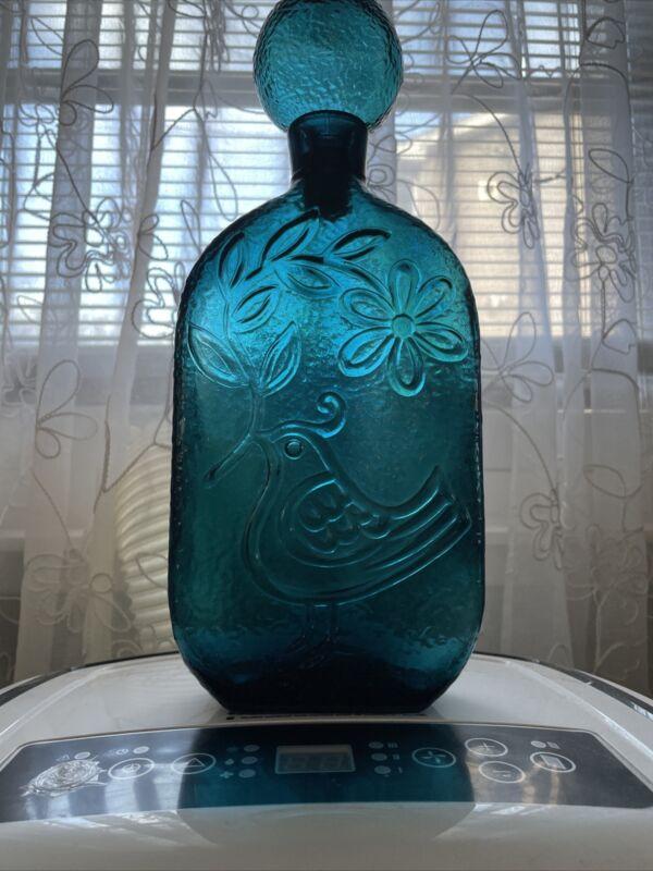 Vintage 1970s Vimax Italian Pressed Glass Green Bottle Decanter With Bird Design