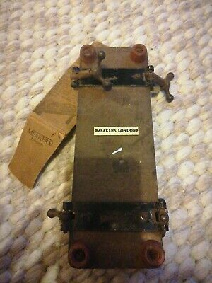 Vintage - Antique , Wooden Tie Press with instructions meakers london