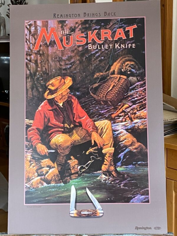 """Remington Bullet Knife Poster """"Muskrat"""" """"A Pack of Trouble"""" by Bruce Wolfe"""