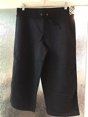 Womens Med Black Burberry Cropped Capri NWT Elastic &Tie Waist, Thin  Piping Leg Capri Plaid Tie