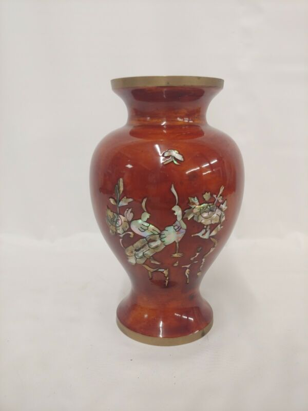 Antique VTG Brass Bronze Faux Wood Porcelain Paint Inlaid Mother Of Pearl Vase