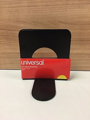 """Universal 5"""" Deluxe Bookends, Nonskid Base, Black UNV54055 - NEW"""