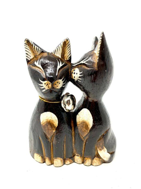 """Decorative Wooden Cats Kissing Figurines Statue Sculpture Cat Lover Gift 5x4"""""""