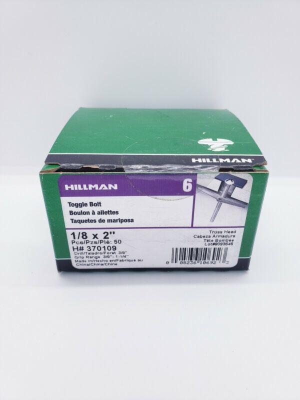 "Hillman Toggle Bolt Truss Head 1/8"" x 2"" H# 370109 50 Pieces"