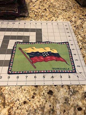 "1900'S FELT BLANKET 8"" X 5 1/4"" VENEZUELA FLAG TOBACCO"