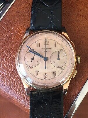 Vintage 18k Solid Rose Gold Chronographe Suisse Chronograph Men's Watch Manual
