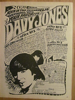 The Monkees, Full Page Vintage Ad, Davy Jones Fan Club