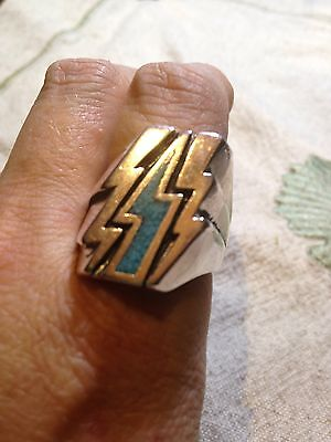 1980's Vintage Silver Southwestern Turquoise Inlay Lightning Bolt 12.5 Ring
