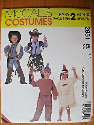 Cowboy Halloween Costume Patterns (Sewing Pattern McCall 2851 Kid Cowboy Cowgirl Halloween Costume Size 7-8)