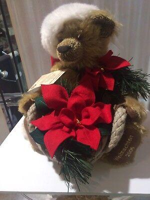Hermann Weihnachts Teddybär 2006 Mohairplüsch 42cm Kippstimme m  Weihnachsstern