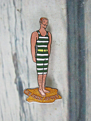New Jersey Jaycees 1978 Old Fashioned Swimsuit Man Stripes Enameled Lapel Pin - Old Fashioned Swim Suit