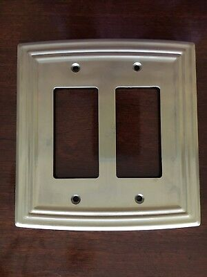 LIBERTY CLASSICAL DOUBLE DECORATOR SATIN NICKEL OUTLET WALL PLATE FREE SHIPPING Double Outlet Wall Plate