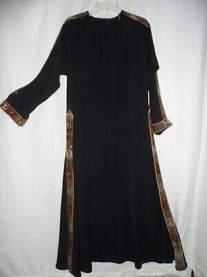Black Flare Embroidered Beaded Formal Eid Dubai Abaya Maxi Long Dress Size L M