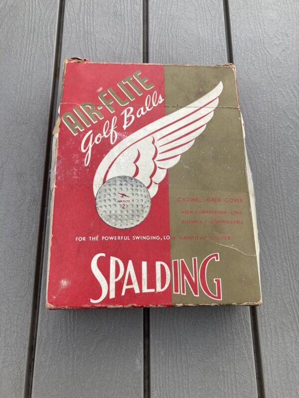 6 Vintage A.G. Spalding Air-Flite Golf Balls w/Box 1939