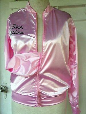 Pink Satin Lightweight Costume Zippered Jacket, 'Pink Ladies' Print Front & Back
