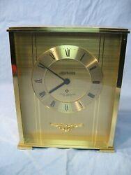 Vintage Brass, Glass Craftguild Desk Clock West Germany NOS