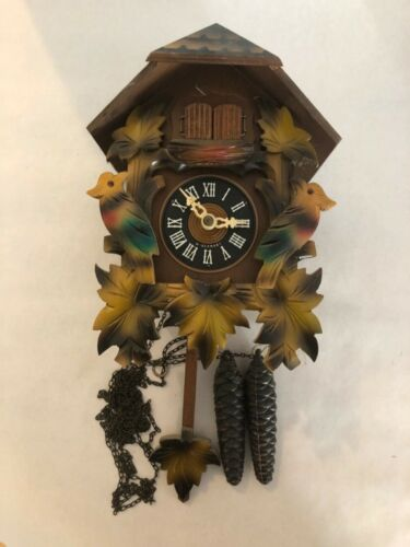 Vintage August Schwer Regula Cuckoo Clock Birds Leaves West Germany Working