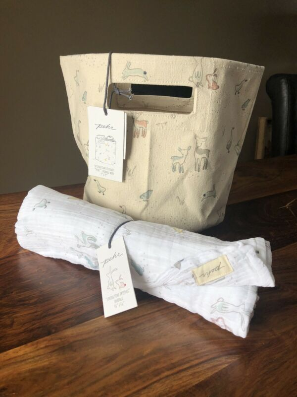 Pehr Cotton Baby Swaddle Blanket & Canvas Pint Basket