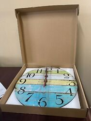 Grazing 12 Clock Arabic Numerals Shabby Beach Weathered Boards Blue in Orig Box