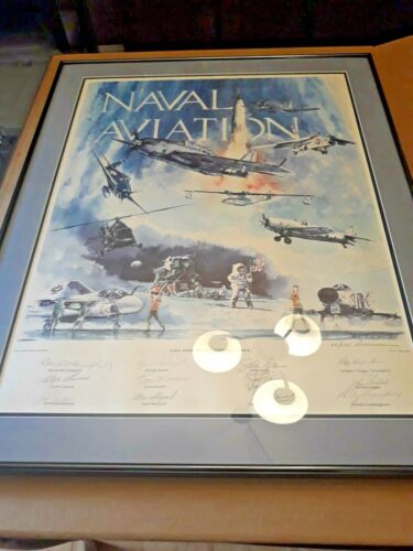 Ltd edition print Naval Aviation 75th Anniversary Commemorative Autographed