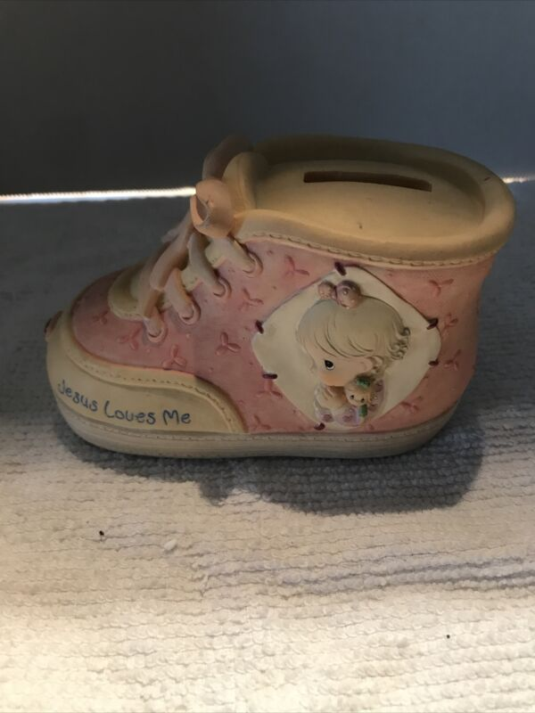 "Vintage 1994 Precious Moments Pink Girl Baby Shoe Piggy Bank ""Jesus Loves Me"" 3"""