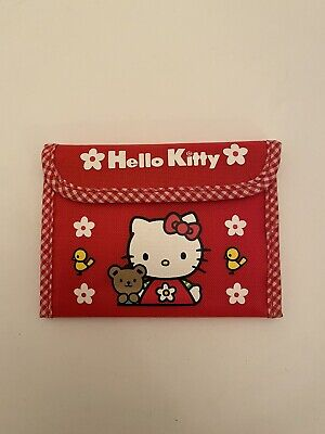 Hello Kitty Sanrio Red Nylon Wallet Purse 1998 Gingham Border Vintage Rare...