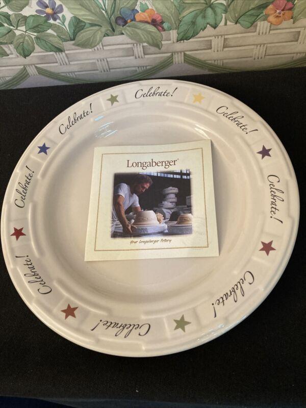 "Longaberger WT Pottery IVORY w/STARS CELEBRATE! 9"" PLATE Brand New Org. Box RARE"