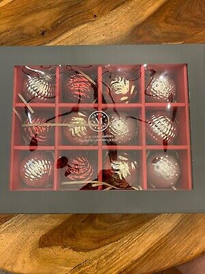 Martha Stewart Ornaments 12 Glass Gold Red Silver Embellished Christmas Ornament