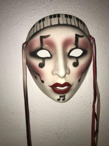 Vintage Mardi Gras ceramic mask music piano