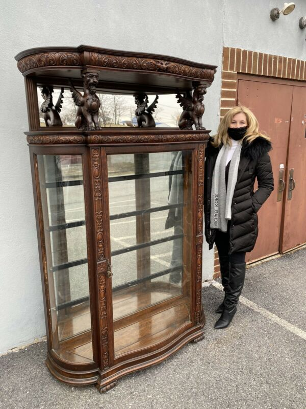 Tagged R J Horner Oak Griffin top china cabinet. victorian/carved 1890s