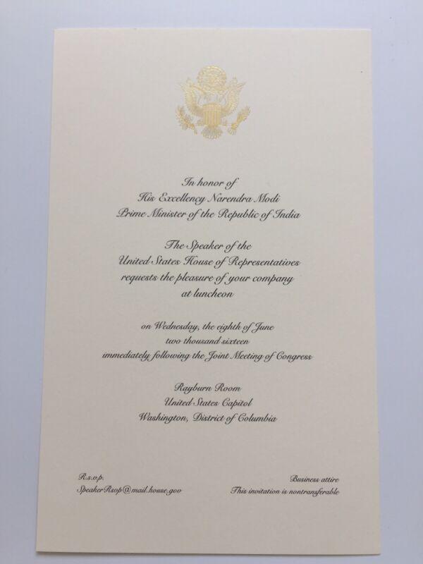 2016 Speaker Paul Ryan Luncheon Invitation India Prime Minister Narendra Modi