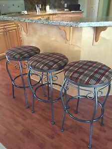 Three sturdy metal bar stools