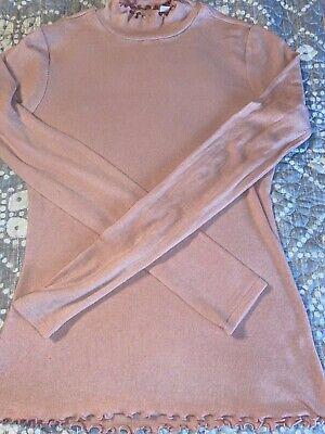 GAP Lettuce-Edge Ribbed Mock-neck Top Long Sleeves pink Size: PETITE Medium -