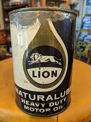 Vintage Original Lion Naturalube Heavy Duty Motor Oil 1 Quart All Metal Can