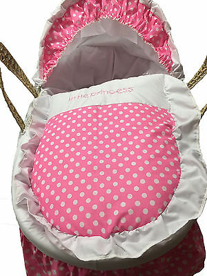 Mother Nature Inspired Baby Moses Basket Bedding/Dressing - Pink Polka Dots for sale  Shipping to South Africa