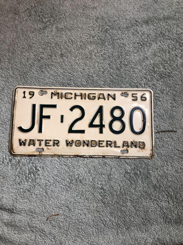 1956 michigan license plate JF-2480 Water Wonderland