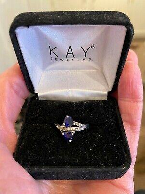 KAY JEWELERS Lab-Created SAPPHIRES 1/20 ct tw DIAMONDS 10K WHITE GOLD Ring - EC